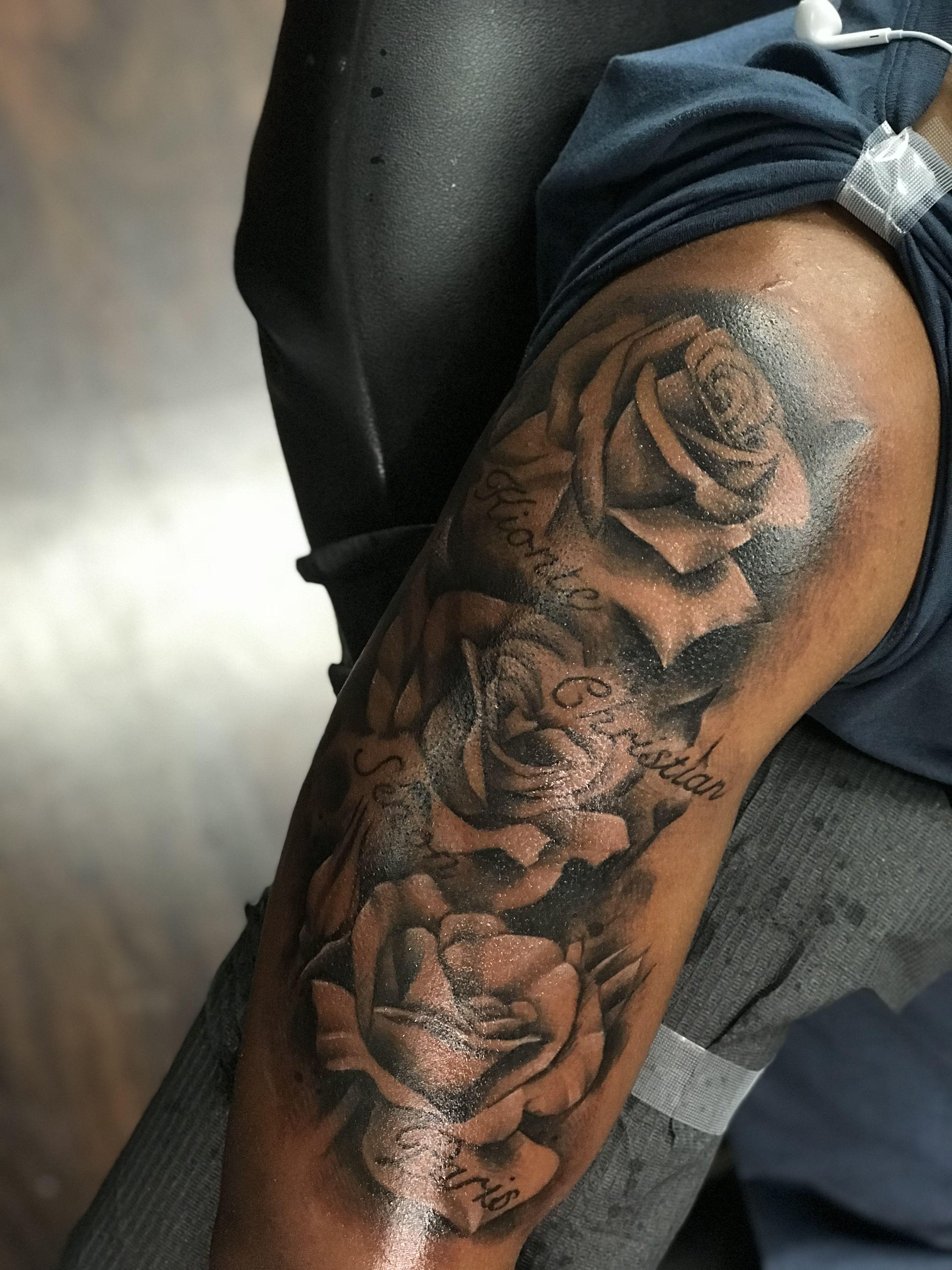 Roses Half Sleeve Tattoo Dark Skin Tattoo Half Sleeve Rose Tattoo Sleeve Tattoos