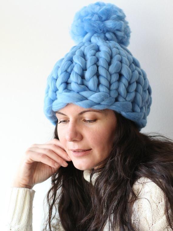 87ade25b92c Light Blue Chunky knit hat with pom pom