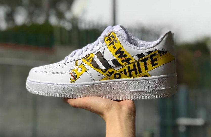 d941b5c0c150e Custom Bart Simpson Off-White Nike Air Force 1 low White | Just ...