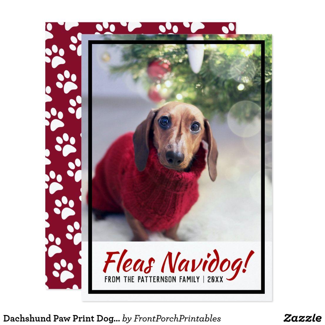 Dachshund Dog Photo Paw Print Christmas