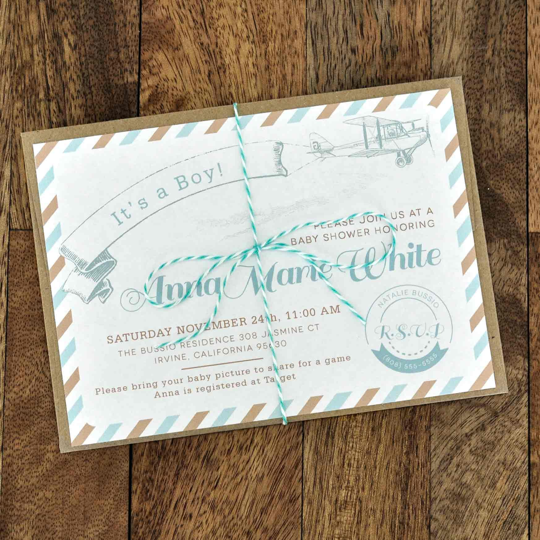 Superior Mail Style With Rope Baby Shower Greeting Card Laid On Harwood Floor As  Well As Baby Shower Invites And Affordable Baby Shower Invitations