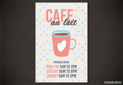 Cafe Hours Poster Layout , #affiliate, #Hours, #Cafe, #Layout, #Poster #Ad