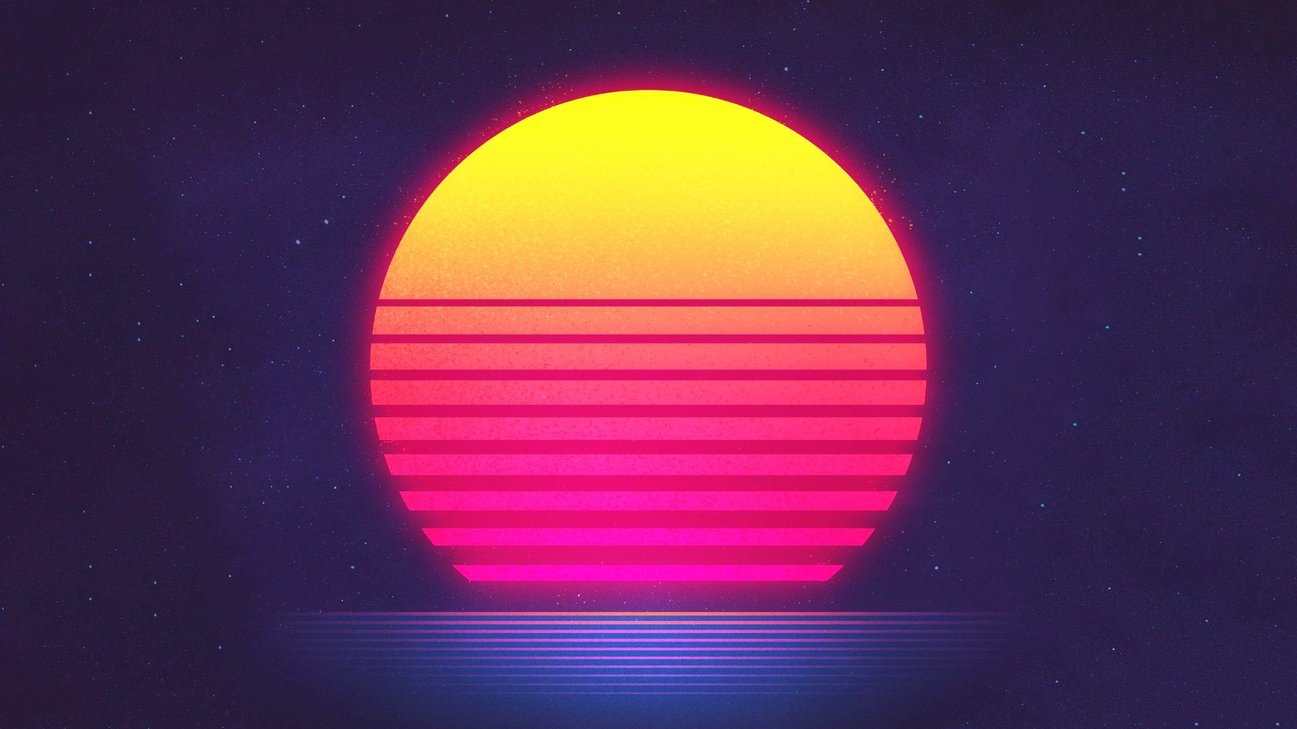 Sunset Retrowave Hd Wallpaper Retro Waves Synthwave Sun Illustration