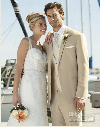 Custom made Beige Groom Tuxedos Wedding Suits Prom Clothing ...