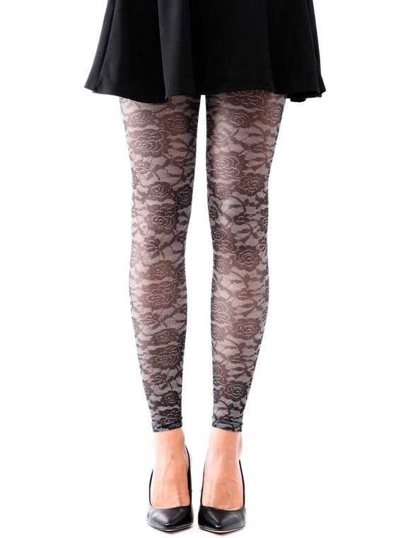 71023035c0ca8 Nika Footless Model Tights - Floral Lace Black & Grey in 2019 | F ...