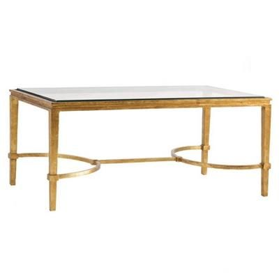 Directoire Low Table (38-708) This metal rectangular coffee table is patterned after 18th century designs with an antique hammered bronze finish, glass top and bow-shaped stretcher.