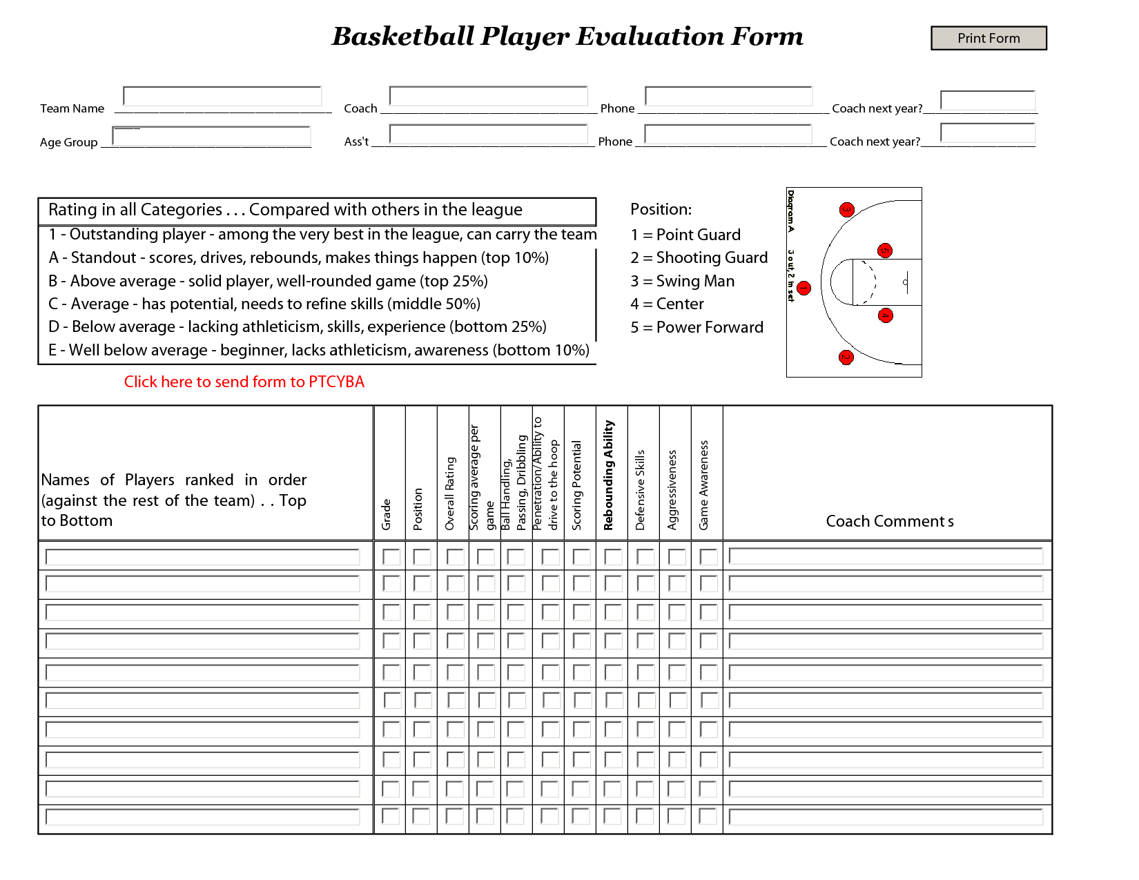 Basketball Tryout Evaluation Form  Basketball