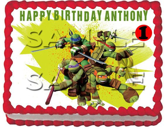 2 New Teenage Mutant Ninja Turtles Edible Cake Topper Teenage Mutant Ninja Turtle Birthday Ninja Turtle Party Tmnt Birthday