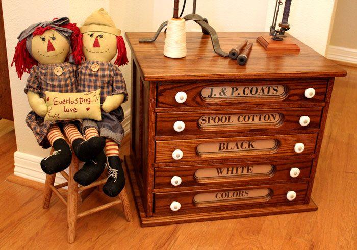 J. & P. Coats Reproduction Thread Spool Cabinet - J. & P. Coats Reproduction Thread Spool Cabinet Thread Spools
