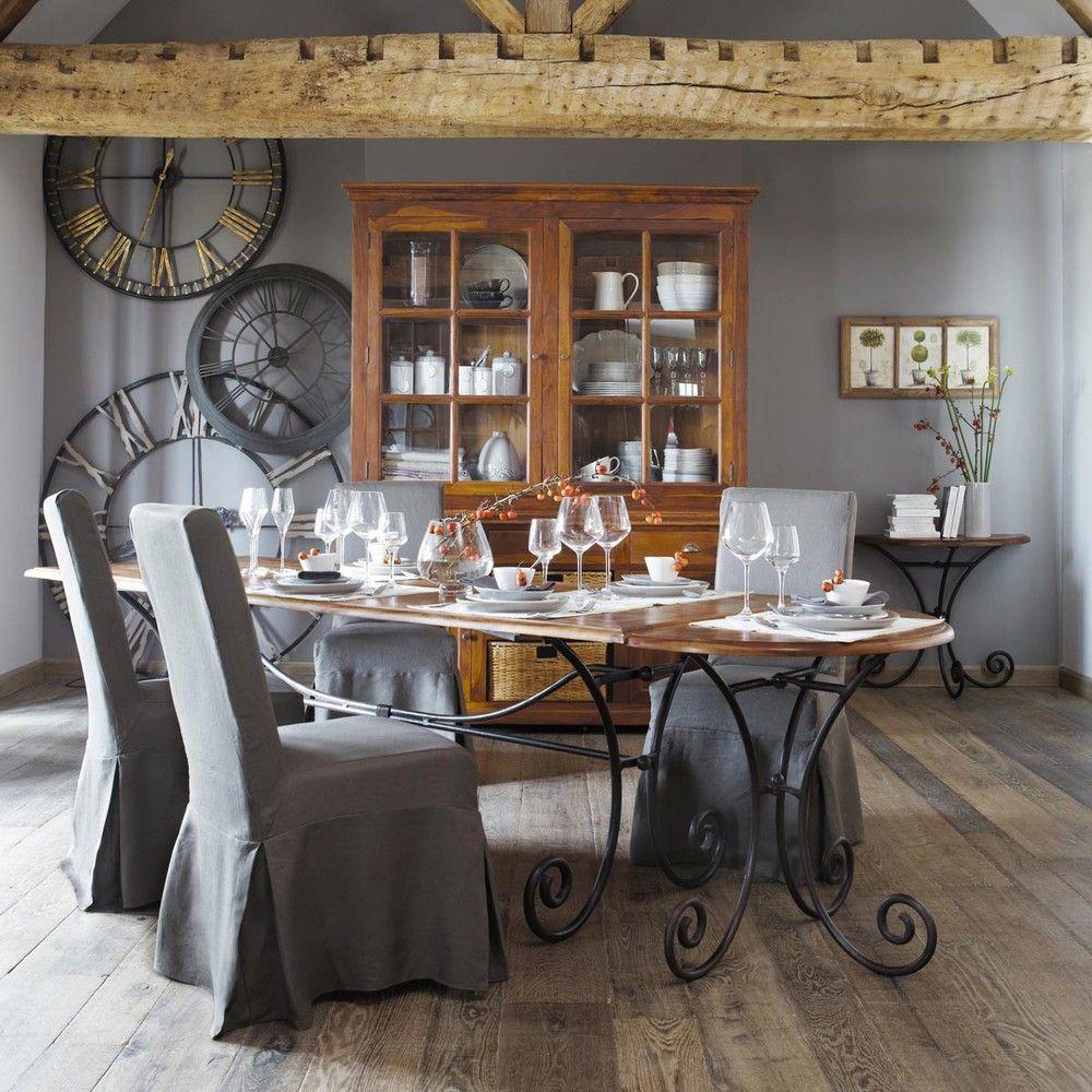 table console demi lune en fer forg et bois de sheesham massif l 90 cm