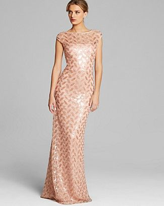 David Meister Gown - Cap Sleeve Sequin Petal | Bloomingdale's  OBSESSED! (love this blush color with lavender)