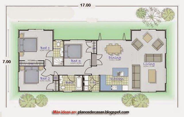 plano de casa rectangular de 17 m x 7 m planos en 2019