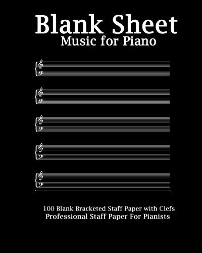 Blank Sheet Music For Piano Modern Black Cover, Brackete   - blank sheet of paper with lines