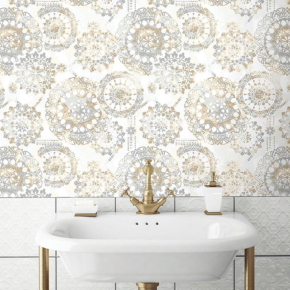 Roommates Bohemian Peel Stick Wallpaper Bed Bath Beyond Peel And Stick Wallpaper Bathroom Wallpaper Powder Room Wallpaper