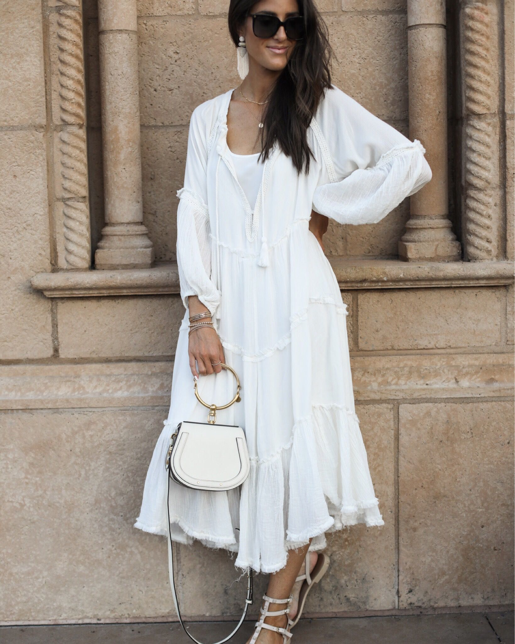 All White Spring Outfit Everyday Outfits Boho Style Dresses Fashion [ 2048 x 1639 Pixel ]