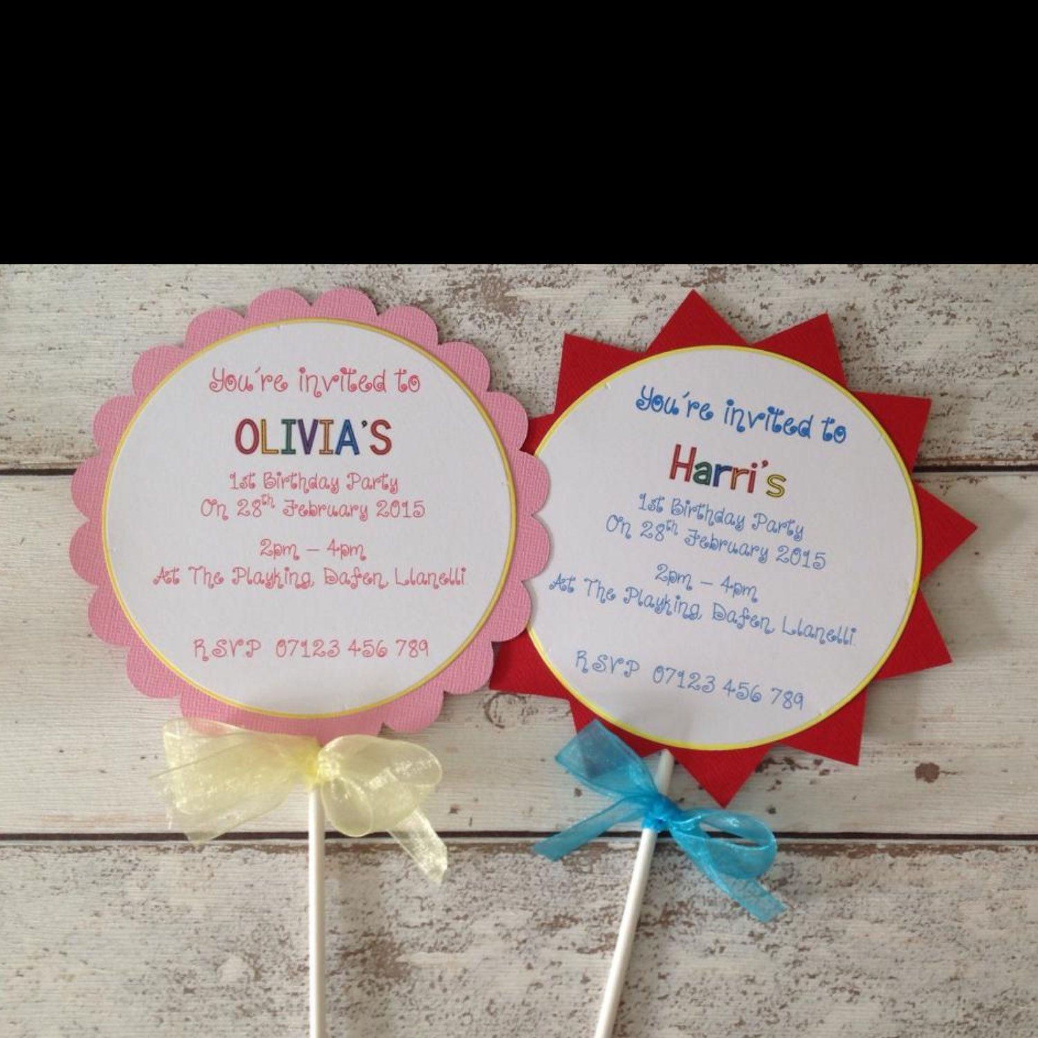 HANDMADE PERSONALISED Lollipop/Popsicle style party invitation ...