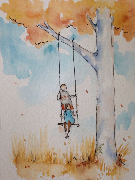Signed digital print of original watercolor painting, unframed print: Boy and Girl, Tree, Autumn, Nature, Brother, Sister, Family, Love