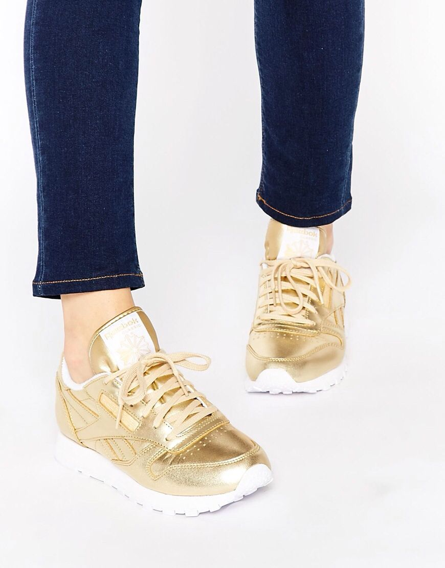 Reebok Classic Gold Leather Spirit Sneakers | Sapatos, Looks