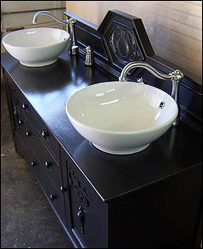 Photo Of Top View   Antique Bathroom Vanity: Black Shabby Chic Double Vessel  Sink Vanity