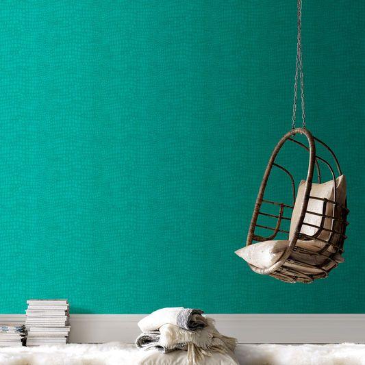 Crocodile Turquoise Wallpaper | Interieur uitbouw | Pinterest