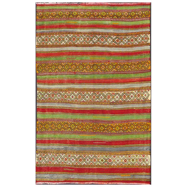 Fine Weave Turkish Kilim With Embroidery Vintage Turkish Kilim Turkish Kilim Kilim