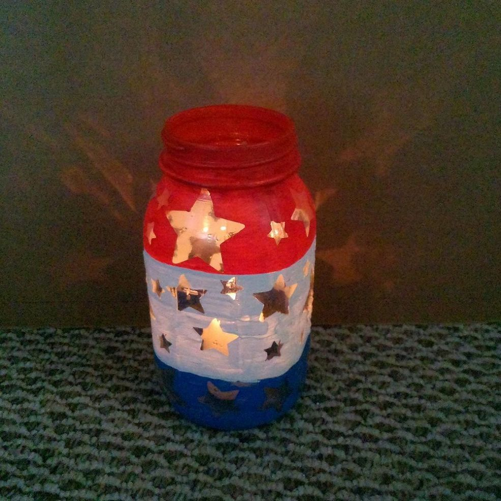 Patriotic mason jar luminary mason jar crafts and craft