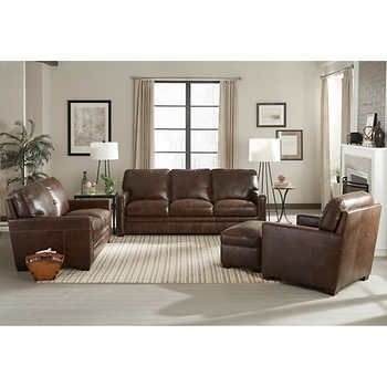 Windcrest 4 Piece Top Grain Leather Set Dark Brown100 Leathersofa Loveseat Chair And Ottomanby Simon Li Living Room Sets Furniture Furniture Couch Furniture