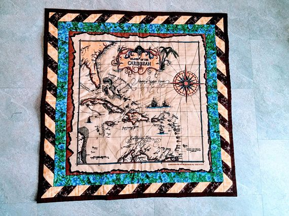 Old world map quilt wall hanging pirate map map fabric old world map quilt wall hanging pirate map map fabric caribbean map gumiabroncs Gallery