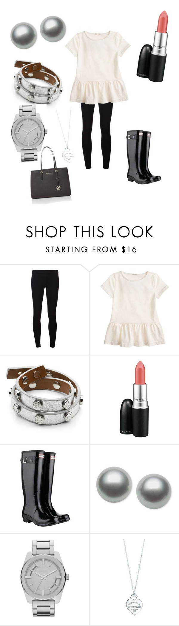 """black&creme"" by morgansumicek ❤ liked on Polyvore featuring James Perse, J.Crew, Tory Burch, MAC Cosmetics, Hunter, Belle de Mer, Diesel, Tiffany & Co. and Michael Kors"