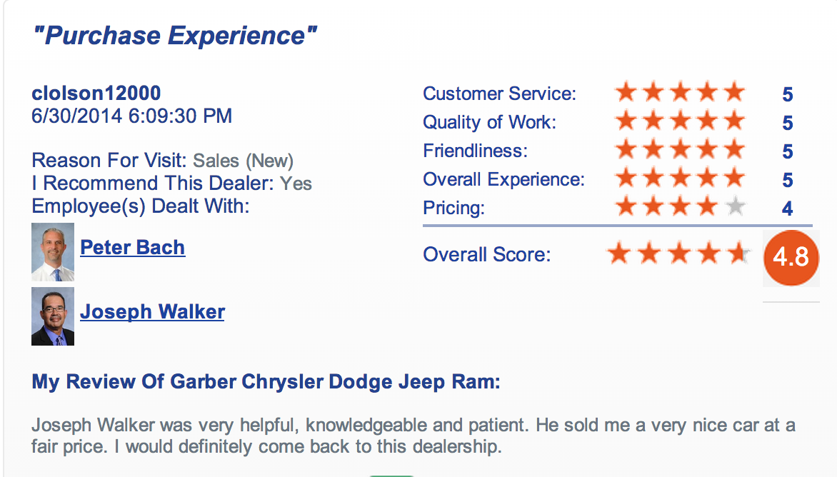 We love getting great feedback form our customers at Garber Chrysler Dodge Jeep