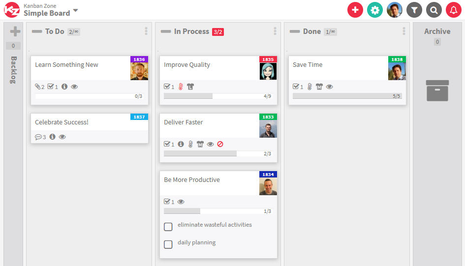 Kanban simple board example Template from