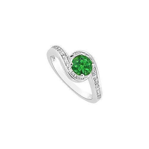 Emerald and Diamond Engagement Ring : 14K White Gold - 0.75 CT TGW