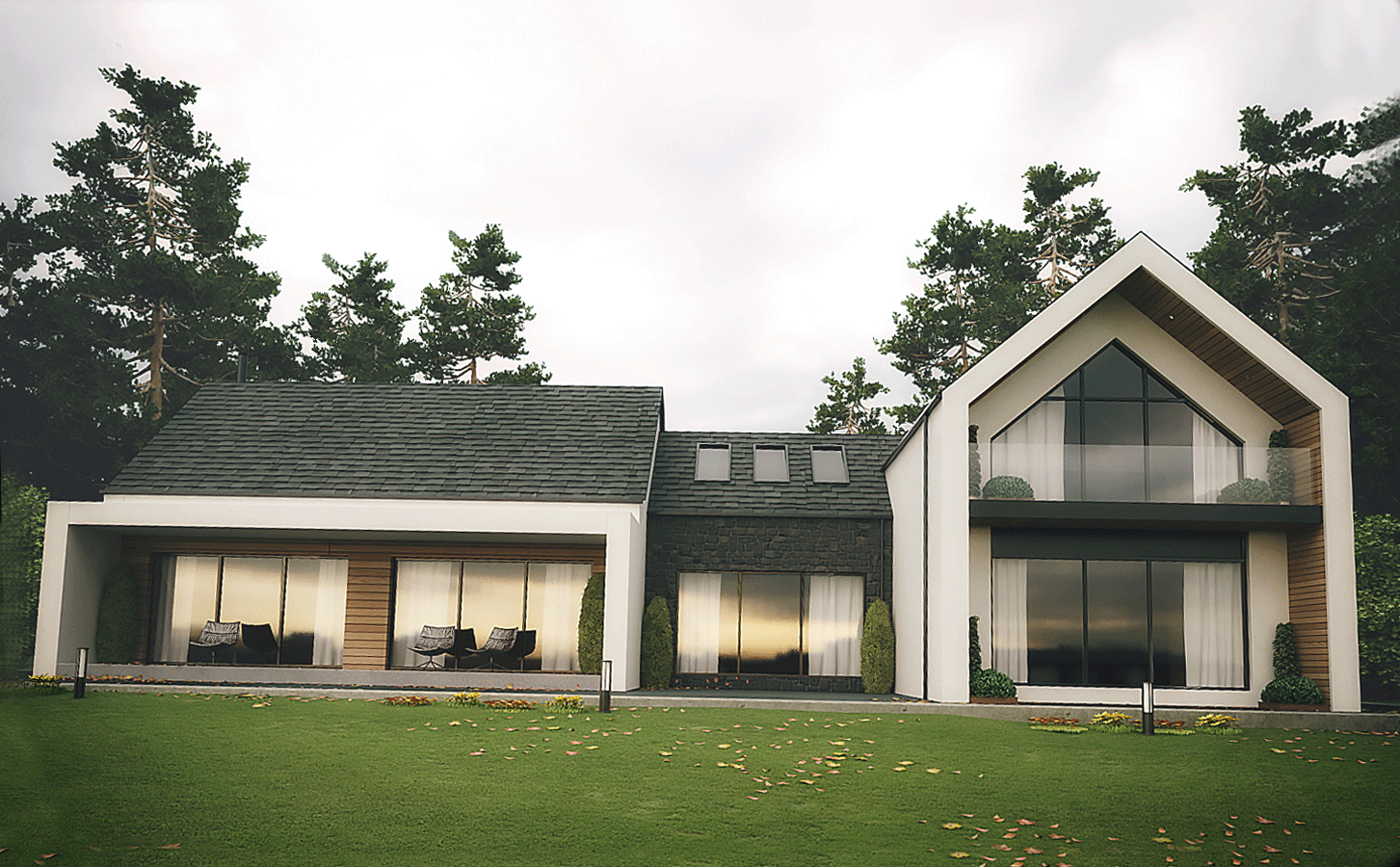 Modern replacement house dromintee slieve gullion forest park newry county armagh designed by ballymena architects slemish design studio