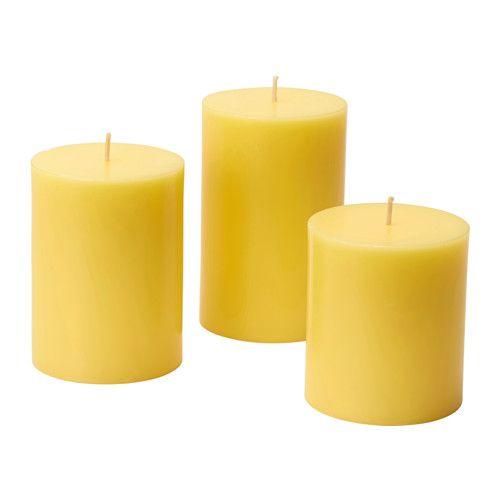 NYKÄR Pöytäkynttilä, 3 kpl IKEA Läpivärjätty kynttilä säilyttää kauniin värinsä koko paloajan.