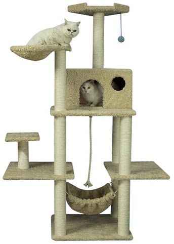give your cats a hammock scratching posts and resting spots all in one place with our tall cat condo tower  cheap tall cat condo with perches and nest   cat condos      rh   pinterest