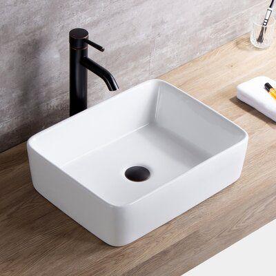 Luxier Ceramic Rectangular Vessel Bathroom Sink With Faucet In 2020 Bathroom Sink Stopper Contemporary Bathroom