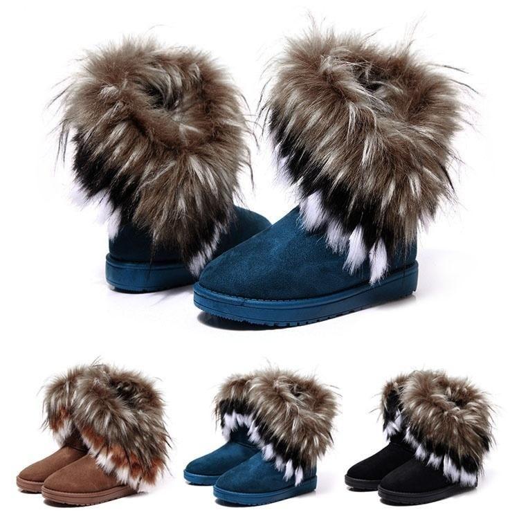 New Womens Faux Fur Boots Suede Mid Calf Fashion Winter Warm Sheepskin  Shoes Z G c51136f8ff
