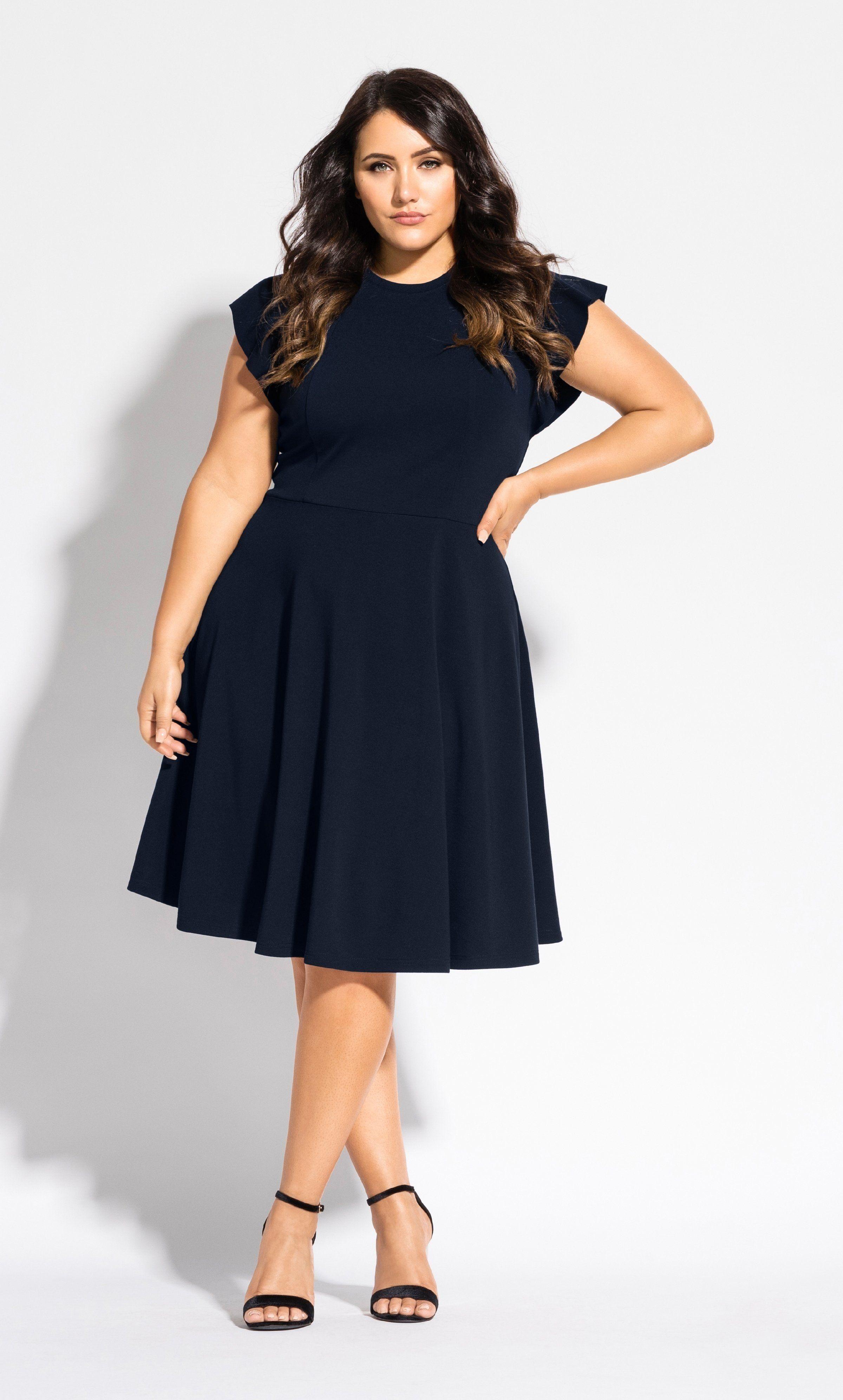 Frill Shoulder Dress Navy Plus Size Work Dresses Plus Size Black Dresses Plus Size Dresses