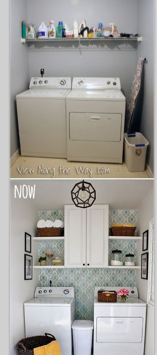 small laundry room makeover laundry room looksies pinterest more small laundry rooms. Black Bedroom Furniture Sets. Home Design Ideas