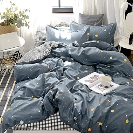 Amazon Com Galaxy Universe Duvet Cover Set Planet Star Bedding Yellow Shining Stars Planets And Black P Duvet Cover Sets Floral Bedding Sets Bed Linens Luxury