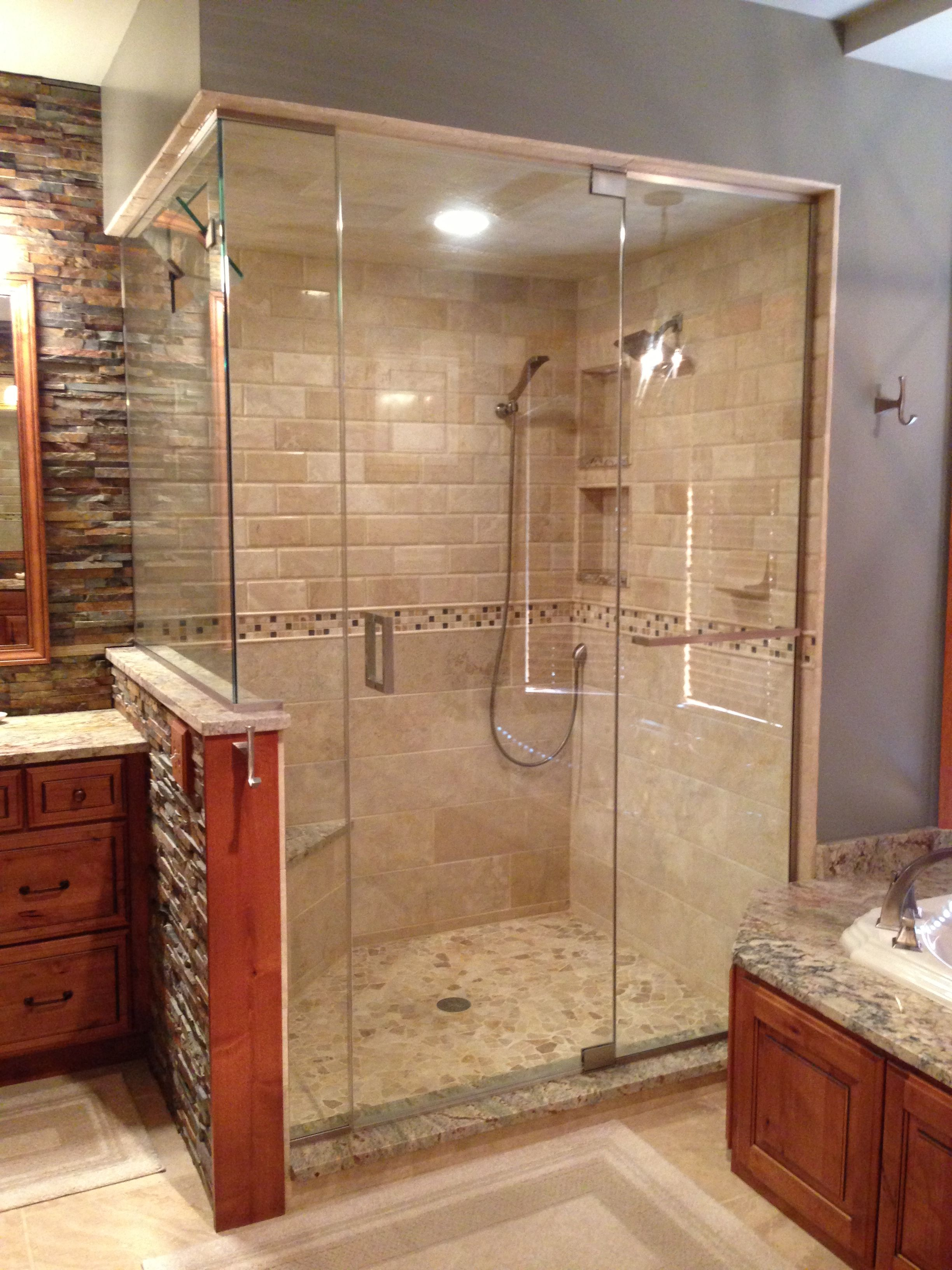 Elegantly Rustic Master Bathroom With Dry Stacked Stone Backsplash