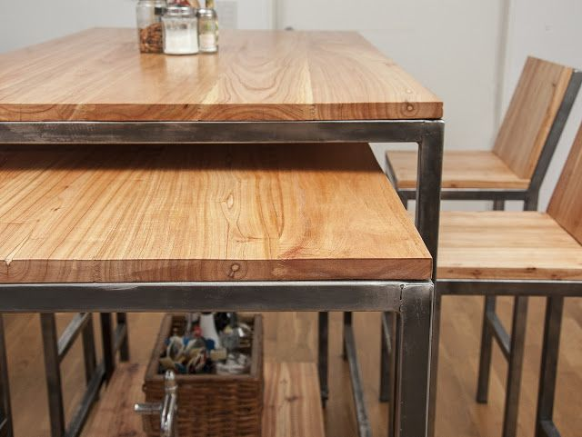Mesa barra móvil Chipi Chipi : : : Madera y hierro - Muebles y ...