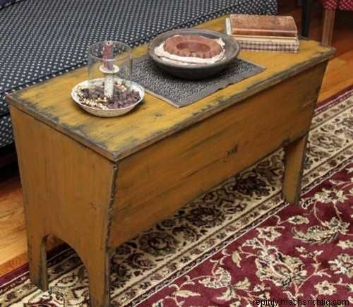 Primitive Kitchen Table And Chairs: Primitives Dough Box-Primitive Country Furniture