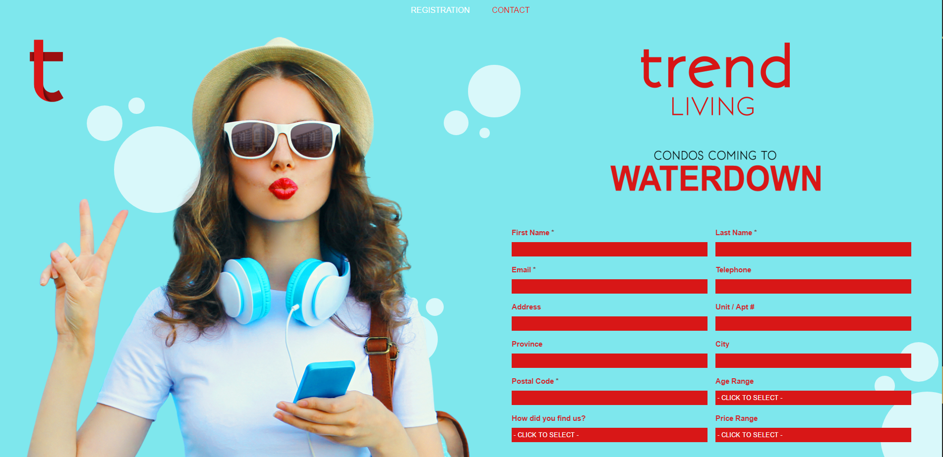 Trend Living Registration Page by Kre8it Design Studio.