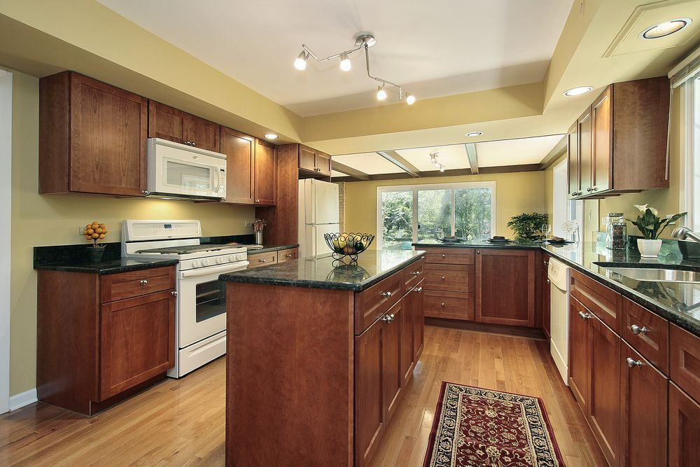 Oak (seashell) stain on flooring-Traditional Kitchen with ... on Black Granite Stain  id=61504