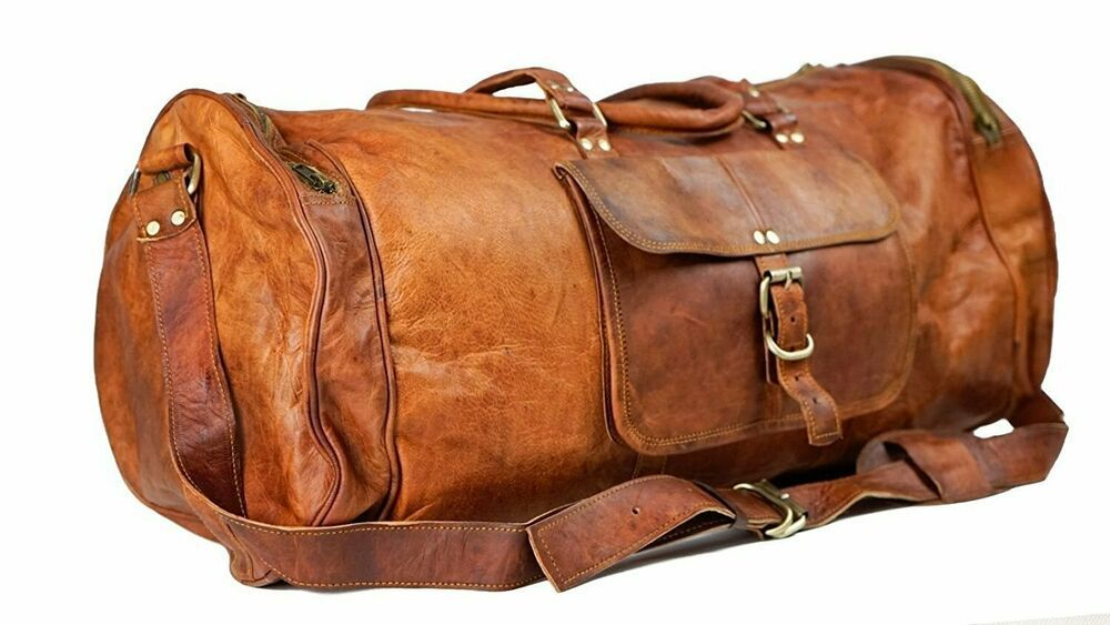 Men/'s genuine Leather large vintage duffle travel gym weekend overnight bag 24/""
