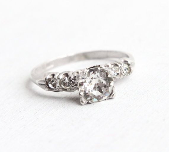Vintage Art Deco Sterling Silver Faux Diamond Ring 1940s Size 8 1 4 Clear Glass Rhinestone Engag Vintage Art Deco Vintage Sterling Silver Rings Faux Diamonds