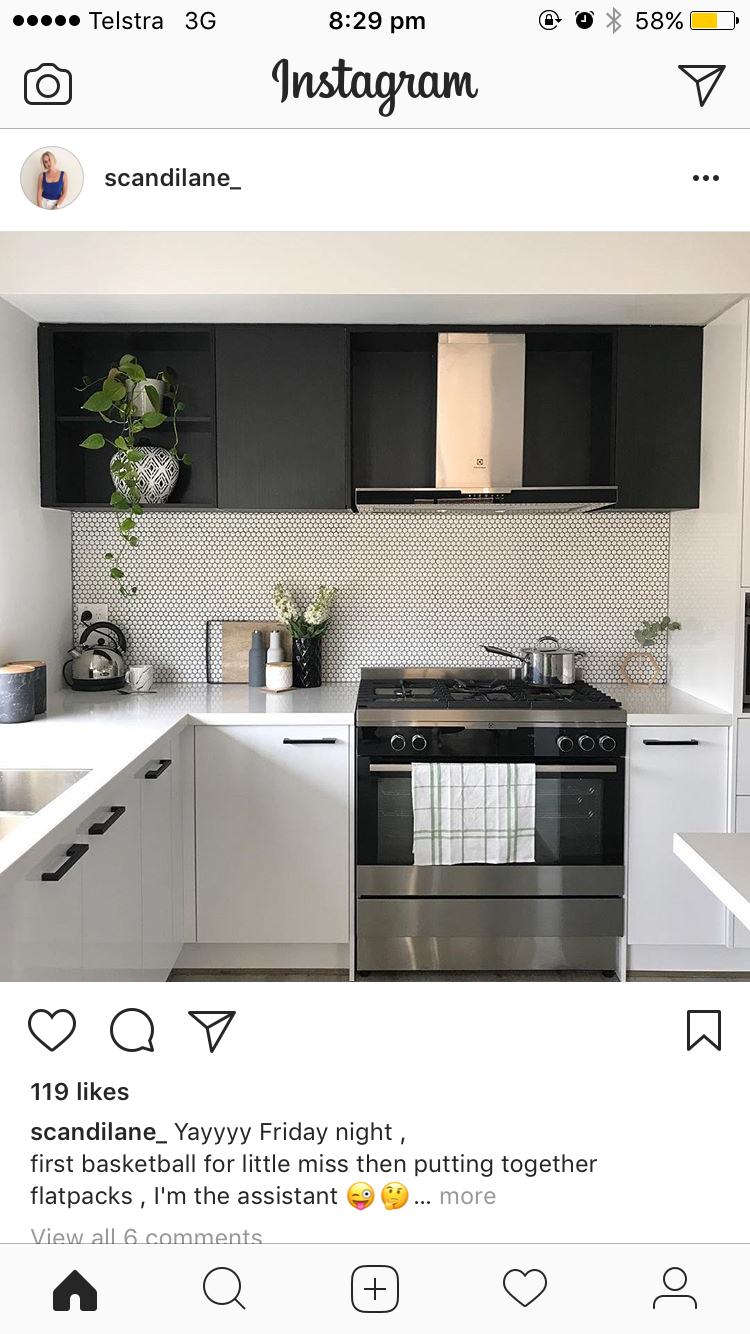 Small U shape kitchen, love the black and white   Small u shaped ...