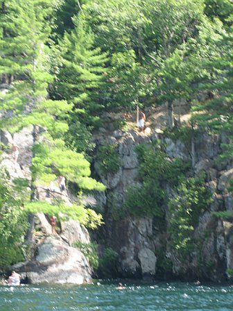 Cliff jumping on Lake George, NY:dad's parents have lake