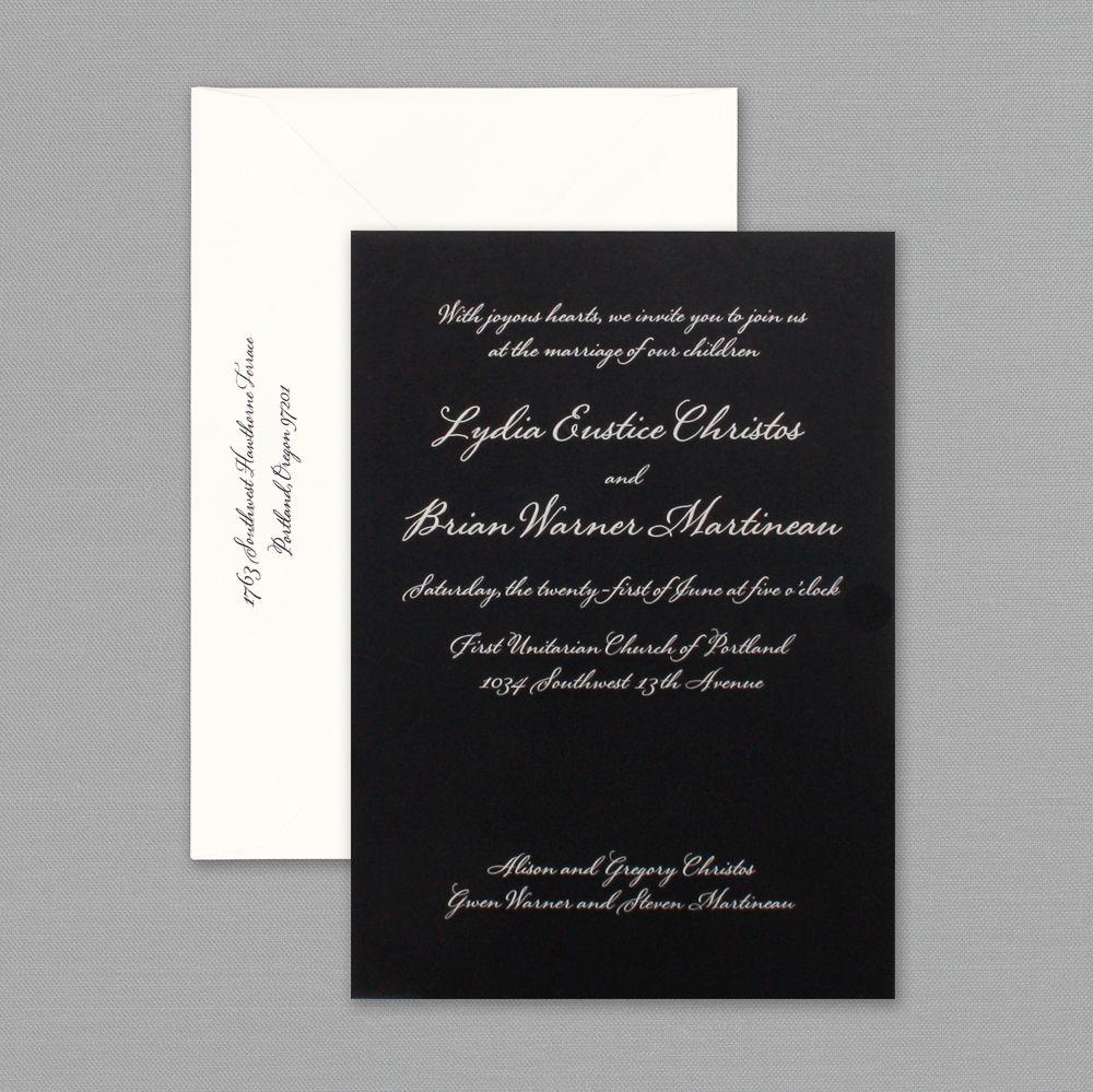 Vera Black Engraved Wedding Invitations